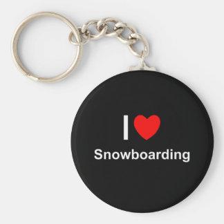 Chaveiro Eu amo a snowboarding do coração