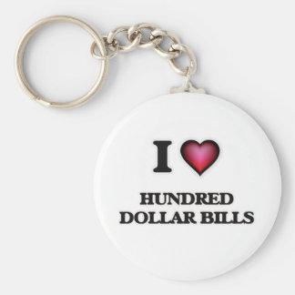 Chaveiro Eu amo cem notas de dólar