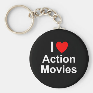 Chaveiro Eu amo filmes de ação do coração