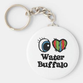 Chaveiro Eu amo o búfalo de água (do coração)