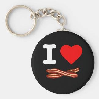 Chaveiro Eu amo o coração fritado friável da vida do bacon