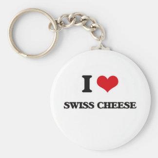 Chaveiro Eu amo o queijo suíço