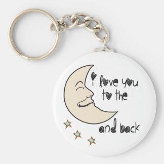 Chaveiro Eu te amo à lua e à parte traseira lunáticas