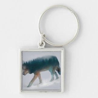 Chaveiro Exposição dobro do lobo - floresta do lobo - lobo