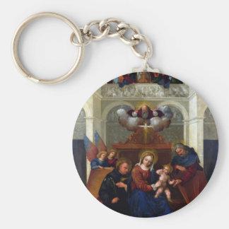 Chaveiro Família santamente com santo Nicholas de Tolentino