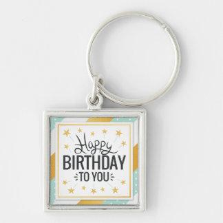 Chaveiro Feliz aniversário listras minty do ouro estrelado