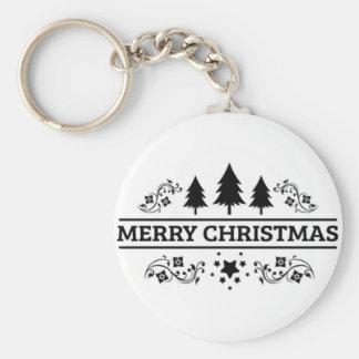 Chaveiro Feliz Natal branco preto
