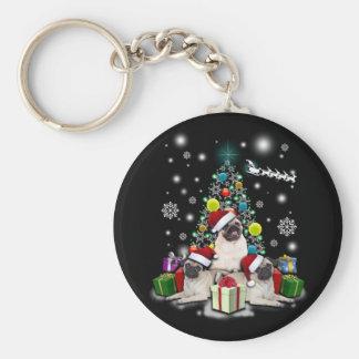 Chaveiro Feliz Natal com o animal do cão do Pug