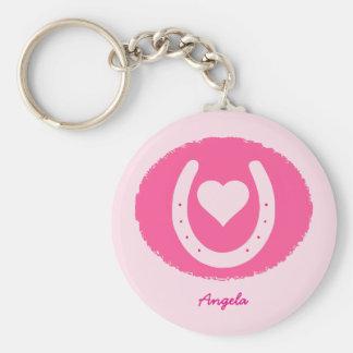 Chaveiro ferradura e coração cor-de-rosa