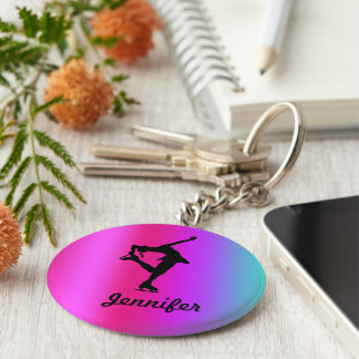 Chaveiro Figura corrente chave do nome do patinador (rosa,