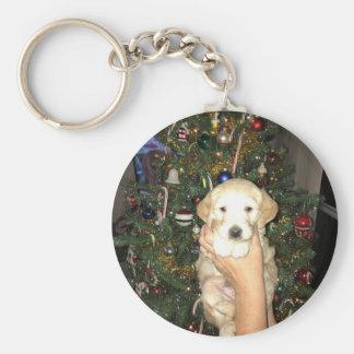 Chaveiro Filhote de cachorro de GoldenDoodle com árvore de