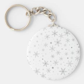 Chaveiro Floco de neve da cintilação - cinza & Branco de
