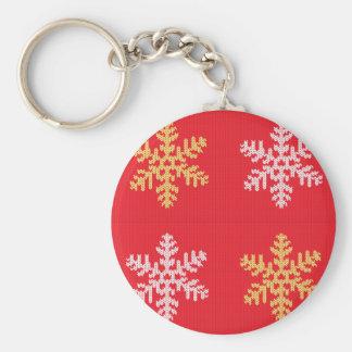 Chaveiro Floco de neve feito malha vermelho