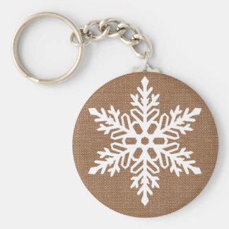 Chaveiro Floco de neve no Natal rústico de serapilheira