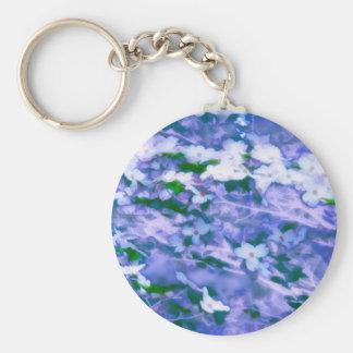 Chaveiro Flor branca do Dogwood no azul