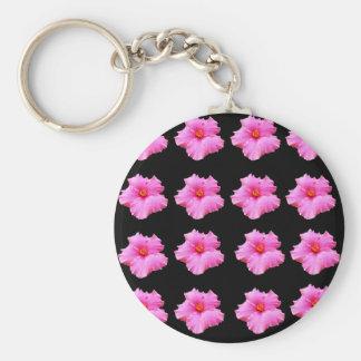 Chaveiro Flores cor-de-rosa do hibiscus no preto, _