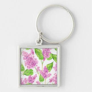 Chaveiro Flores cor-de-rosa do lilac da aguarela