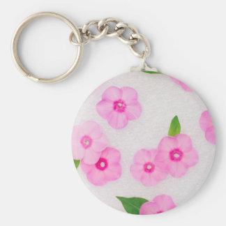 Chaveiro flores cor-de-rosa pequenas