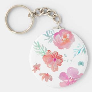 Chaveiro Flores cor-de-rosa românticas da aguarela