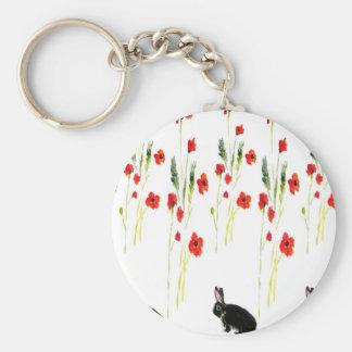 Chaveiro Flores da papoila e um coelho de coelho bonito