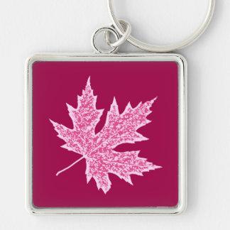 Chaveiro Folha do carvalho - vinho e rosa de Borgonha