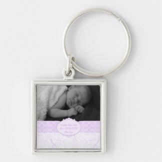 Chaveiro Foto cor-de-rosa do bebê do laço de Swirly