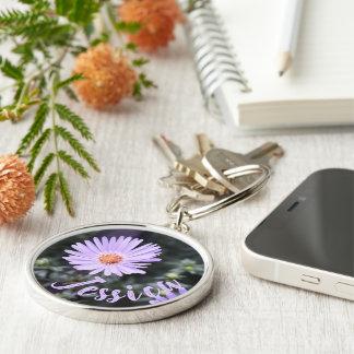 Chaveiro Fotografia roxa personalizada da natureza da flor