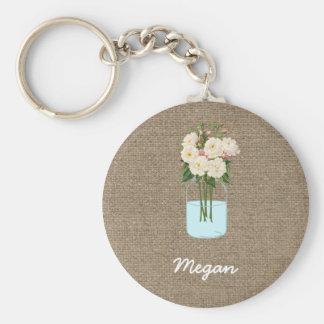 Chaveiro Frasco de pedreiro personalizado da flor branca na