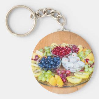 Chaveiro Fruta fresca do verão da variedade na escala de