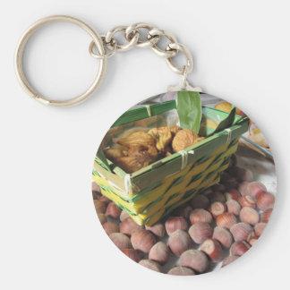 Chaveiro Frutas do outono com avelã e os figos secados