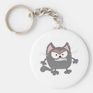 Chaveiro Gato cinzento irritado gordo do gatinho