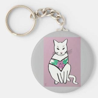 Chaveiro Gato com colar cor-de-rosa