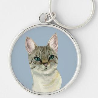 Chaveiro Gato de gato malhado com a aguarela bonito dos