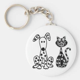 Chaveiro Gato e cão engraçados com os pontos das estrelas e
