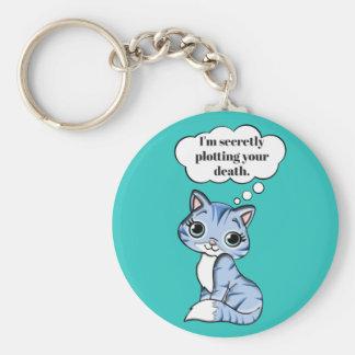 Chaveiro Gato engraçado do gatinho que traça sua morte