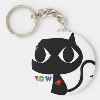 Chaveiro Gato preto Silhouett com coração vermelho e Meow