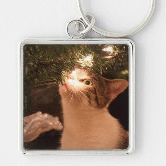 Chaveiro Gatos e luzes - gato do Natal - árvore de Natal