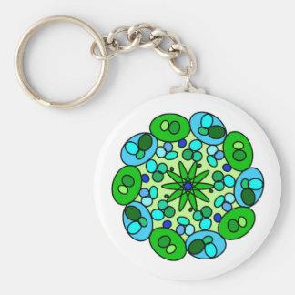 Chaveiro geométrico azul verde branco da estrela