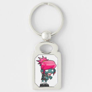 Chaveiro Ghoul de cabelo cor-de-rosa Funky da menina do