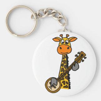 Chaveiro Girafa engraçado que joga a arte do banjo