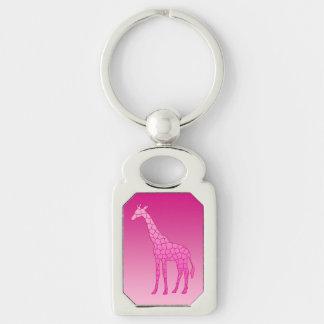Chaveiro Girafa, fúcsia e luz geométricos modernos - rosa