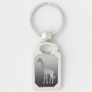 Chaveiro Girafa geométrico moderno, cinza de prata/cinza