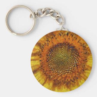 Chaveiro Girassol e sementes no estilo de Van Gogh