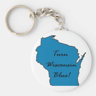 Chaveiro Gire Wisconsin azul! Orgulho Democrática!