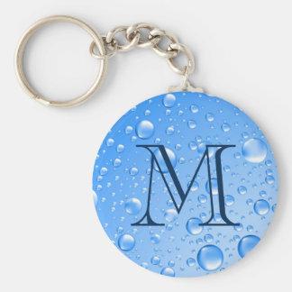 Chaveiro Gotas metálicas Monogrammed da chuva dos azul-céu