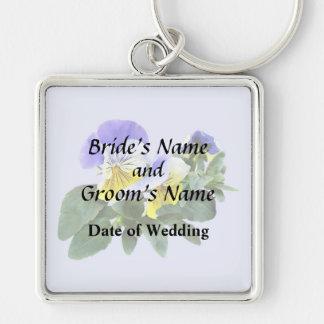 Chaveiro Grupo de Pansies amarelos e roxos que Wedding o
