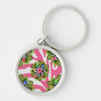 Chaveiro Hibiscus tropical e listras cor-de-rosa exóticas