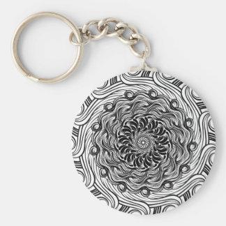 Chaveiro Ilusão óptica do Doodle ornamentado do zen preto e