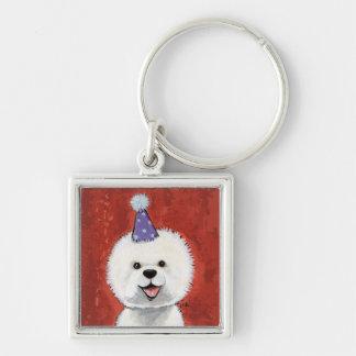Chaveiro Ilustração bonito do cão do partido de Bichon