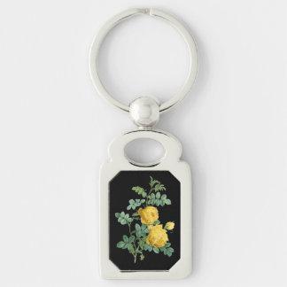 Chaveiro Ilustração botânica do vintage do rosa amarelo
